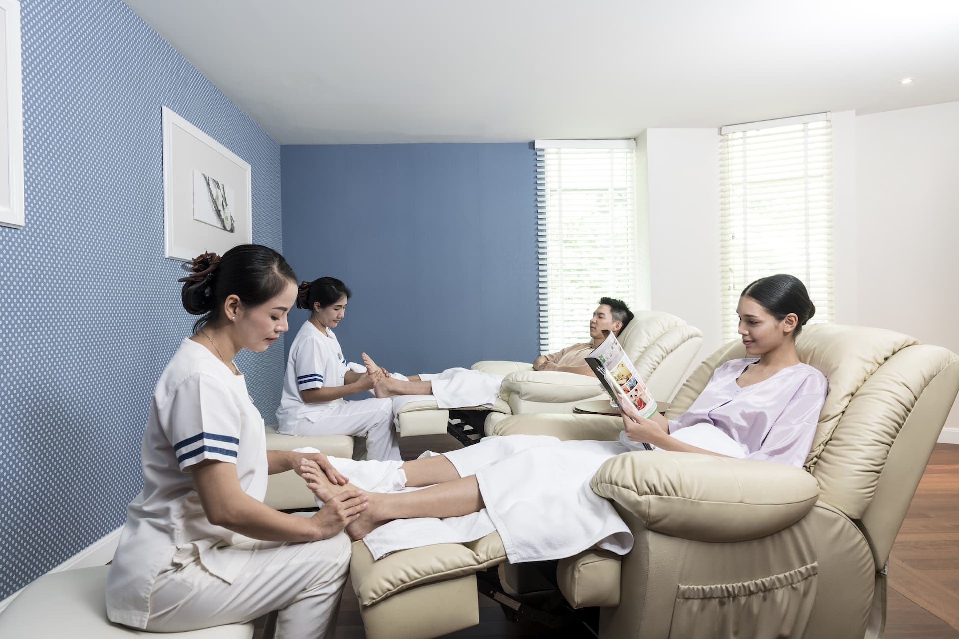 People getting a foot massage
